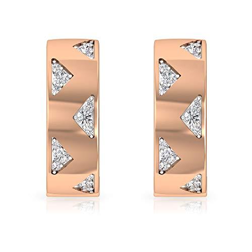Pendientes de aro de diamante HI-SI, Minimal Pendientes para Mujer, Pendientes de Oro Dos Tonos, 10K Oro rosa, Par