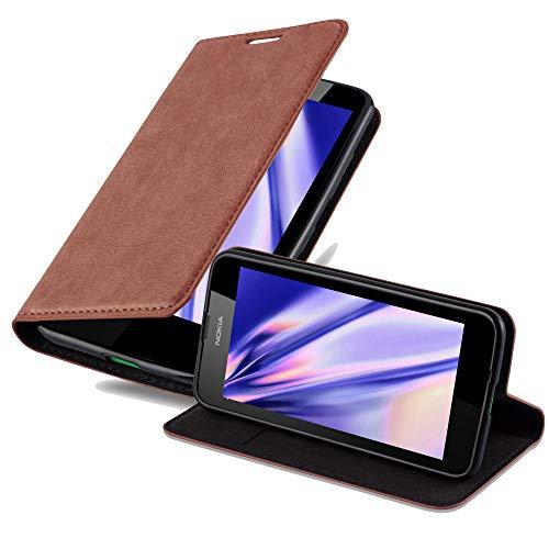 Cadorabo Hülle für Nokia Lumia 630 in Cappuccino BRAUN - Handyhülle mit Magnetverschluss, Standfunktion & Kartenfach - Hülle Cover Schutzhülle Etui Tasche Book Klapp Style