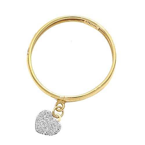 TJC 9ct Yellow Gold Heart Charm Band Ring for Womens Valentine's Day Gift for Love Size T in Glossy Finish