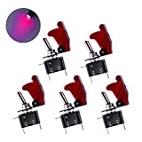 JUSTTOP Red LED Light Heavy Duty Rocker Switch 12V 20A, Red Cover SPST ON/Off 2Pin, Fit for Car, Truck, Boat(5PCS)