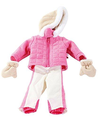 Götz 3402231 Completo tuta da sci a righe - abbigliamento per bambola misura XL - set 3 pezzi di vestiti e accessori per bambole in piedi alte 45-50 cm