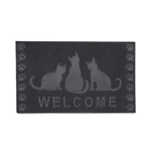Relaxdays Fußmatte Gummi mit Katzen-Motiv Welcome als Fußabtreter Schmutzmatte rutschfest und witterungsbeständig bei Regen, Schnee als Türvorleger mit Katze HBT: ca. 0,5 x 75 x 45 cm, schwarz