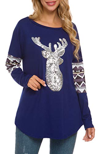 HBEYYTO Women Christmas Shirts Long Sleeve Round Neck Casual Sparkly Reindeer Tunic Tops Blouse ((US 16-18) X-Large, Navy)