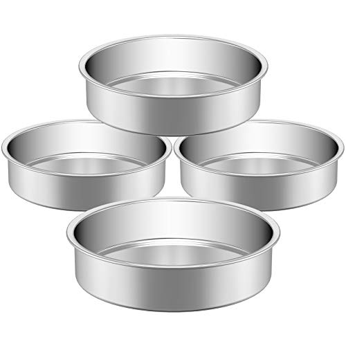Stainless Steel Cake Pan, HKJ Chef Cake Pan & Round Baking Cake Pans Set, For Baking Steaming Serving, Healthy & Sturdy, Easy Clean & Dishwasher Safe & Set of 4, Size of 8inch