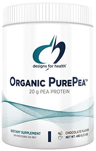 Designs for Health Organic PurePea - Chocolate Pea Protein Powder with 20g Vegan Protein, Organic + Non-GMO (15 Servings / 480g)
