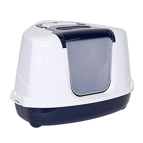 Moderna Bandeja Sanitaria Cubierta Rinconera para Gato - Sanitario Toilet - Flip Corner- Color Azul