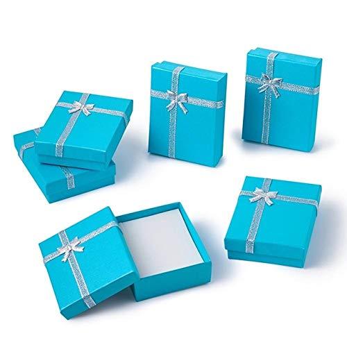 LYR 12pcs Juego de joyería Caja de Regalo Cuadrado Caja de Regalo con Bowknot para Collares Pendientes Anillos Embalaje Color Mixto-9x7x3cm
