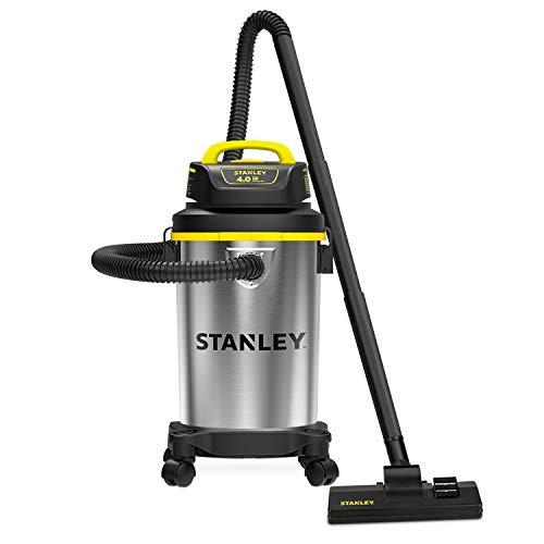 Stanley 4 Gallon Wet Dry Vacuum , 4 Peak HP Stainless Steel Portable Shop Vac, Multifunctional Shop Vacuum W/ 4 Horsepower Motor for Job Site,Garage,Basement,Van,Workshop