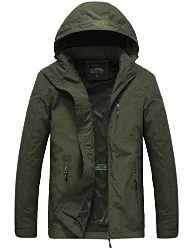 Mens Lightweight Windbreaker Army Green Hooded Jacket