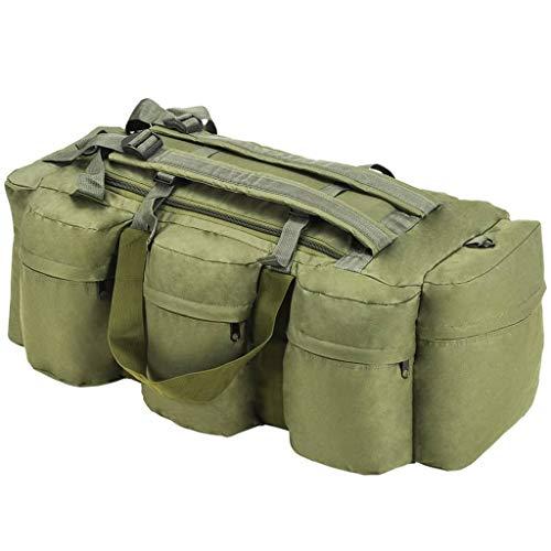 vidaXL Sac de Sport Style Militaire 3-en-1 Sac à Dos Sac à Bagages Rangement Stockage Voyage en Plein Air Randonnée Camping Extérieur 120 L Vert Olive