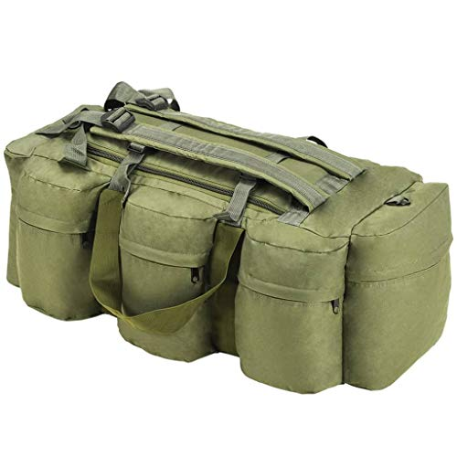 VidaXL Bolso Lona Estilo Militar 3-en-1 120L Verde