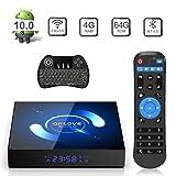 Android TV Box, QPLOVE Q6 TV Box Android 10.0【4GB 64GB】H616 Quad Core Cortex A53 CPU Supporto 3D 6K 2.4G/5G Dual WiFi BT 5.0 LAN 100M H.265 Smart TV Box con Wireless Mini Tastiera