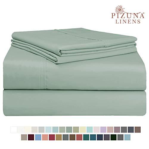 Pizuna 400 Thread Count Cotton Queen Size Sheets Set Sage, 100% Long Staple Cotton Sheets Set, Soft Sateen Best Cotton Bed Sheets Deep Pocket fit Upto 15 inch (100% Cotton Sea Foam Queen Sheet Set)