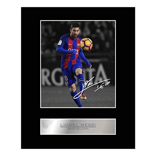 Foto firmada y enmarcada de Lionel Messi con camiseta del Barcelona FC, de la marca My Prints