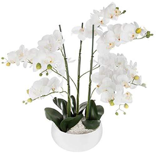 Paris Prix Atmosphera Créateur d'intérieur - Fleur Artificielle Pot Ciment Orchidée 65cm Blanc
