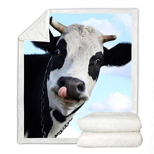 Aquarell-Kuh-Wurf-Decke-Cartoon-Nutztier mit Einer Gänseblümchen-Blumen-Wurfdecke auf Sofa-Weiß Bunte weiche Tagesdecken