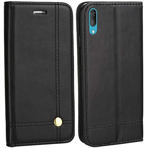 MOELECTRONIX Hülle passend für Huawei Y6 2019 MRD-LX1 | EDLE Buch Tasche mit Karten & Notizfach | Flip Schutz Hülle Klapp Schutzhülle SCHWARZ