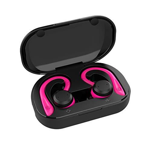 LSHUAIDJ Sport Bluetooth-Kopfhörer, 3 Modi, tragbare HiFi-Stereo-Subwoofer-Kopfhörer, wasserdicht/Fitness/automatisches Pairing / 60 Stunden Wiedergabezeit-Pink