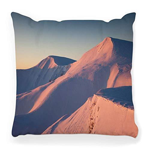 REAlCOOL Funda de almohada de 45,7 x 45,7 cm, puesta de sol, invierno, paisaje, montaña, hielo, roca, nieve, aventura, alp, clima, nube, país frío, amanecer