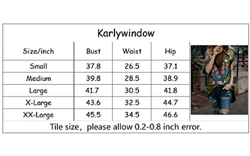 Karlywindow Womens Distressed Eagle Print Mesh V Neck Loose Graphic Short Sleeve T-Shirt Tops Blouse