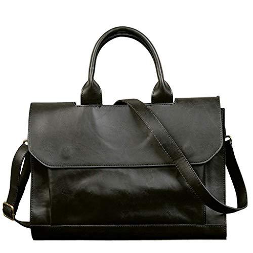 OCCIENTEC Vintage Satchel Handbag PU Leather Shoulder Bag 14 Inch Laptop Briefcase for Men Travel Work School College Business (Black)