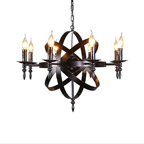 AOLI Castle Style Schmiedeeisen Kronleuchter Mittelalter Anhänger runde Kerze Kronleuchter Licht Schwarz Large Size Geeignet für Wohnzimmer Korridor oder Landhaus Kronleuchter Beleuchtung