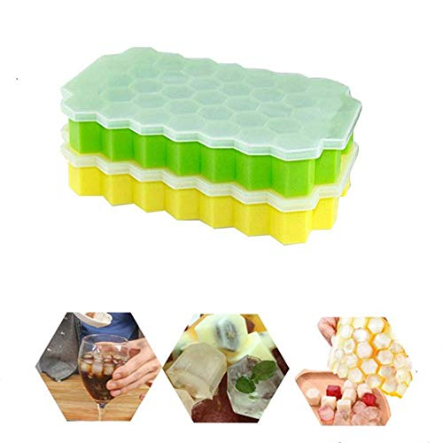 Ice Cube Trays, 2Pack Silicone BPA Free Modules with Non-Spill Lid, Best for Freezer, Baby Food, Water, Whiskey, Cocktail and other Drink