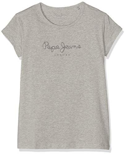 Pepe Jeans Hana Glitter S/s T-Shirt, Grigio (Grey Marl 933), 13-14 Anni (Taglia Produttore: 14) Bambina