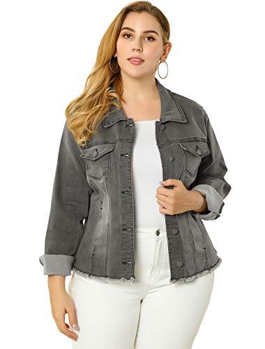 Agnes Orinda Women's Plus Size Classic Washed Front Frayed Denim Jacket 1X Grey