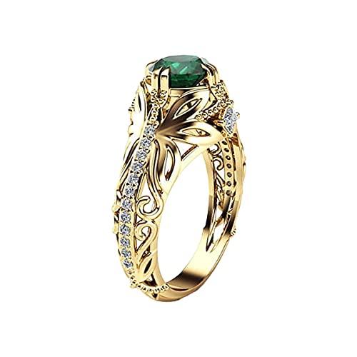 Anillo de diamante completo con forma de geometría y corte cuadrado con circonita cúbica y anillo de compromiso para mujer, Mujeres, HOU, verde, 36