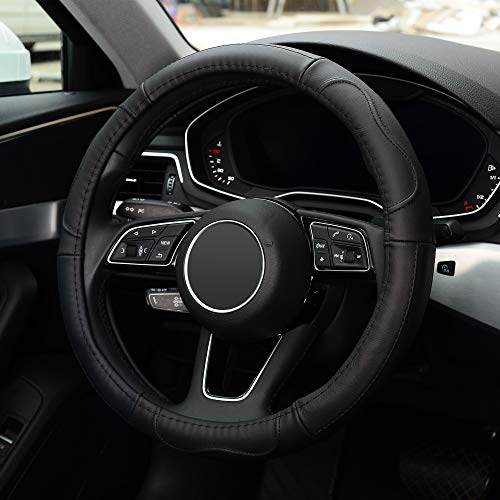 KAFEEK Steering Wheel Cover, Universal 15 inch, Microfiber Leather, Anti-Slip, Odorless, Black Lines