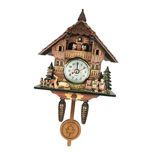 LOVIVER Antike Kuckucksuhr Vintage Holzuhr Home Decor Ausgezeichnetes Geschenk - J