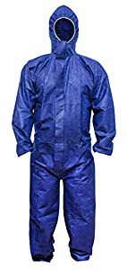 ABC Blue SMS Coverall XL size. Hood, Elastic Cuffs, Ankles, Waist. Chemical Protective Coveralls. Unisex Disposable Workwear for cleaning service, painting, manufacturing. Lightweight, Breathable.