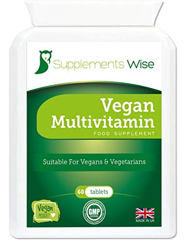 Vegan Multivitamins and Minerals - 60 Tablets - Packed with Vitamin B12, Vitamin D, Iron, Calcium, Iodine, Zinc and More - Suitable for Men and Women