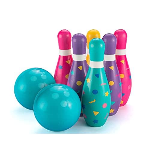 HDZW Kinder Bowling Set Kleinkinder Spielzeug Gedruckt mit Zahl Pädagogisches Outdoor Spielzeug für Jungen Mädchen Sport Draußen Geschenk Geburtstagsfeiergeschenk 6.8