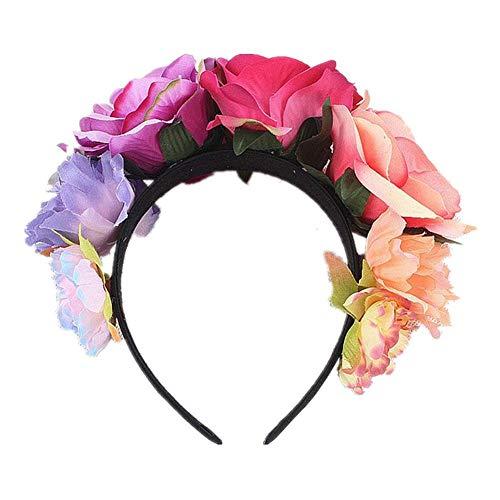 Navigatee Flor corona diadema - Rosa flor corona tocado mexicano, traje de diadema muerto, corona artificial para niñas