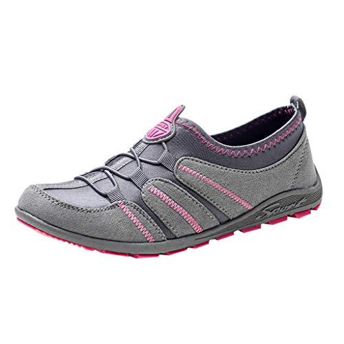 CUTUDE Femmes Appartements en Plein Air Respirant Casual Marche Sport Running Slip-on Chaussures Dames Léger Épais Bas Baskets (B - Gris 41)