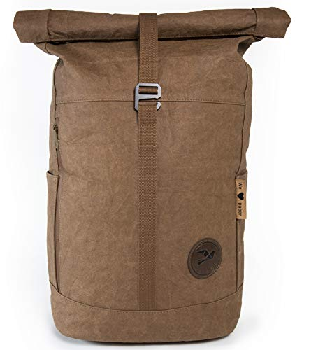 Papero ® Rucksack aus Kraft- Papier | Ultra minimalistisch Herren Damen, robust & wasserfest, Veganer nachhaltiger Urban Style FSC Zertifiziert | als Daypack, Rolltop, Laptopfach für Uni (dunkelbraun)