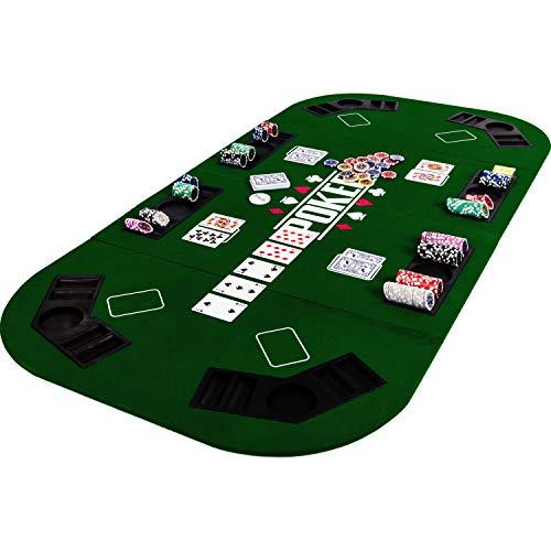 Maxstore Faltbare XXL Pokerauflage für bis zu 8 Spieler, Maße 160×80 cm, MDF Platte, 8 Getränkehalter, 8 Chiptrays, grün - 8