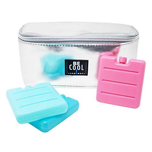 ToCi Be Cool - Borsa termica per il freddo, 20 x 10 x 9,5 cm, 1,5 litri, con set di 3 mini mattonelle refrigeranti (argento)