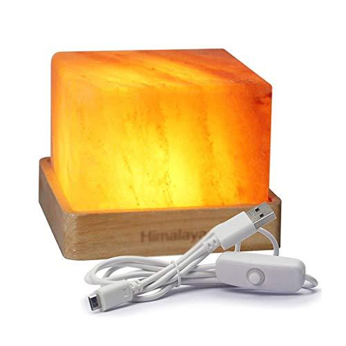 Veilleuses Lampe au sel de l'Himalaya Lampe de Chevet Chambre Rechargeable Décoration d'intérieur Cadeau Romantique Eclairage pour Enfants (Color : Wood, Size : 9 * 9cm)