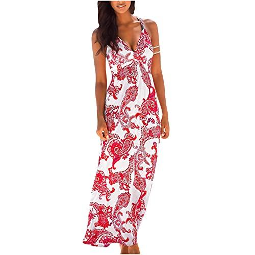 Women Dresses Sale,Ladies Slim Bohemian Resort Style Long Printed V-Neck Sleeveless Sling Dress UK Size Party Elgant Dresses Clearance Work Dress Office Dressing Red
