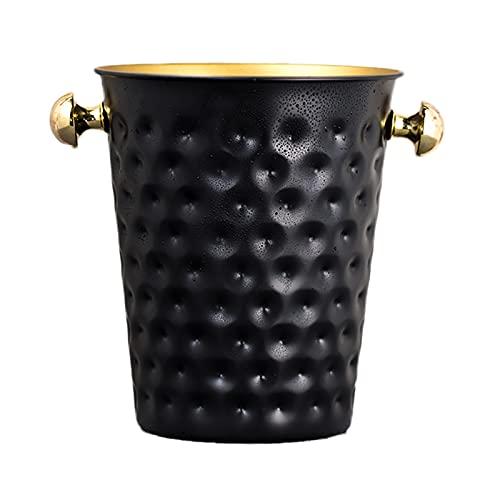 Cubo Enfriador de Vino/Champán de Acero Inoxidable, Cubo de Hielo Portátil Martillado de Diseño 5L para Uso Doméstico En Bares