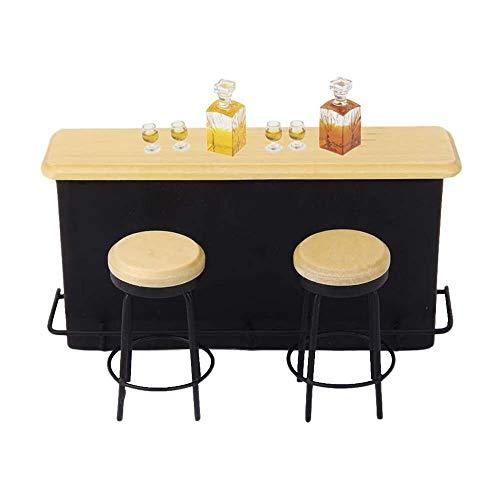 YuKeShop 1:12 Mini Pub Bar Gabinete Taburete Whisky Botella de vino Copa Muebles Suministros