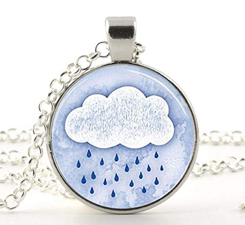 Collana con ciondolo a forma di cupola in vetro con nuvola di pioggia, giorno di pioggia, docce di primavera.
