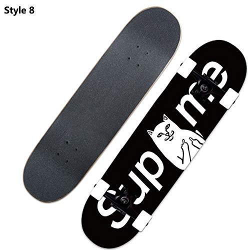 Skateboard, komplettes Board AdultsKids Skateboard Double Kick Trick Verrückte Kanadisches Ahorndeck Robustes, geräuscharmes Hochgeschwindigkeitslager Cooles Muster Anfänger ABEC-7 load 150KG,style8