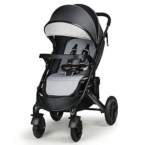 Infant Toddler Baby Umbrella Stroller - Sleeping & Sitting Mode 2 in 1 All Terrain High Landscape Shock Absorption Sunshade Comfortable Full Size Baby Stroller (Black Gray)