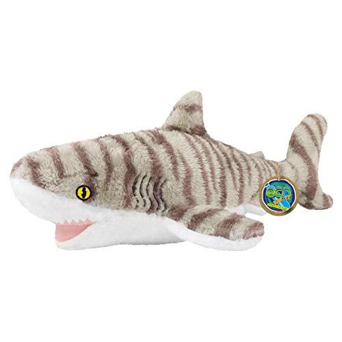 EcoBuddiez - Tiburón Tigre de Deluxebase. Peluche Mediano de 41 cm elaborado con Botellas de plástico recicladas. Lindo Peluche ecológico con Forma de animalito para niños pequeños.
