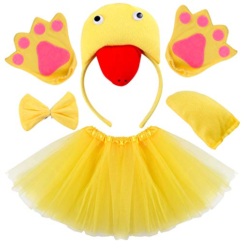 vamei Disfraz de niños Animal Diadema de Animal Bowtie Tail Guantes Tutu Set para niños Halloween Dress Up 5 Piezas