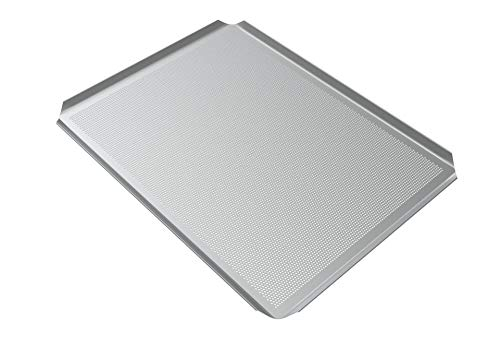 LEHRMANN Bandeja de horno de 42,5 x 36 cm para baguette, placa perforada, bandeja para hornear pizza para horno AEG Elektrolux Zanker